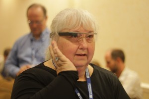 Penn State Instructor Pat Trosky tests Google Glass for the first time.