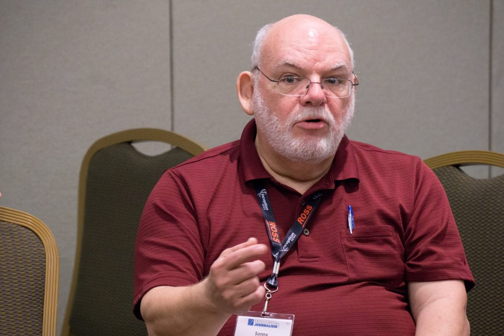 Sonny Albarado, an Arkansas Democratic-Gazette projects editor, speaks during a National Association of Hispanic Journalists meeting Sunday.