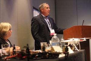 Dave Sirak of the Cox Media Group's drone committee leads a discussion Sunday on drone usage. Photo by Shelby Reynolds